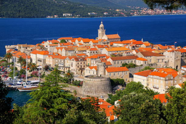 View of Korcula old town, Croatia stock photo
