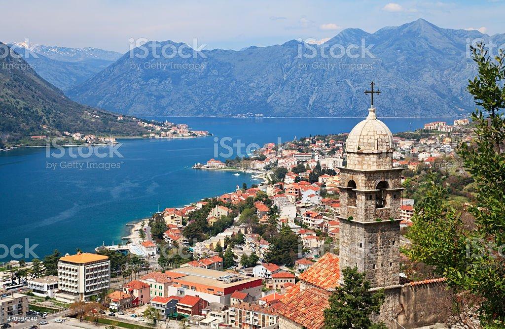Blick Auf Die Bucht Von Kotor Montenegro Stockfoto Und Mehr Bilder
