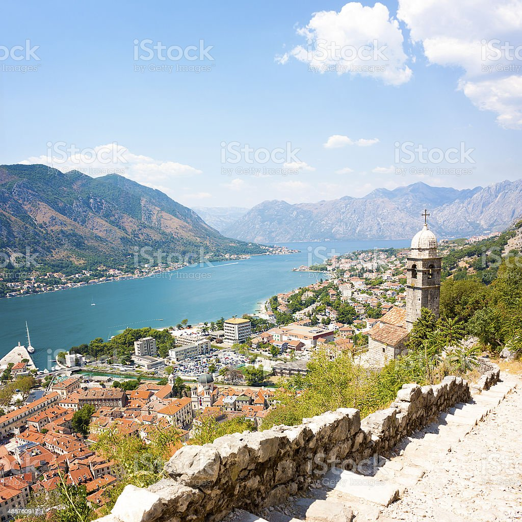 View of Kotor Old Town from Lovcen Mountain stock photo