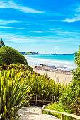 View of Koyokokha beach in the Otago region, New Zealand. Copy space for text. Vertical.