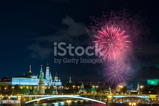 istock View of Kremlin with fireworks during blue hour in Moscow, Russia. 9 May Victory day celebration in Russia 681799188