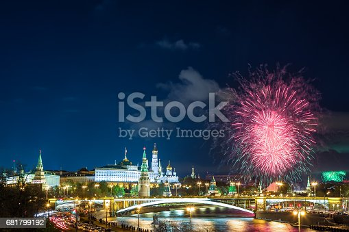 istock View of Kremlin with fireworks during blue hour in Moscow, Russia. 9 May Victory day celebration in Russia 681799192