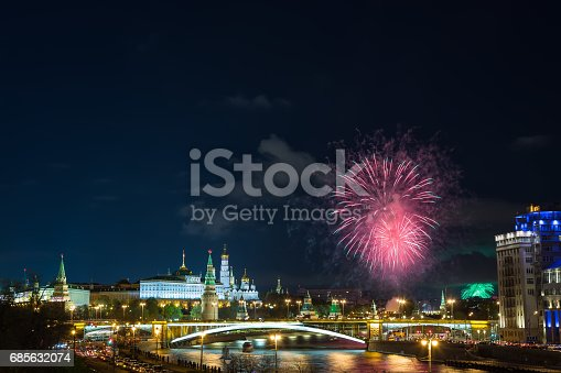 istock View of Kremlin with fireworks during blue hour in Moscow, Russia. 9 May Victory day celebration in Russia 685632074