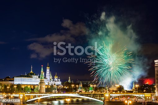 istock View of Kremlin with fireworks during blue hour in Moscow, Russia. 9 May Victory day celebration in Russia 804843358