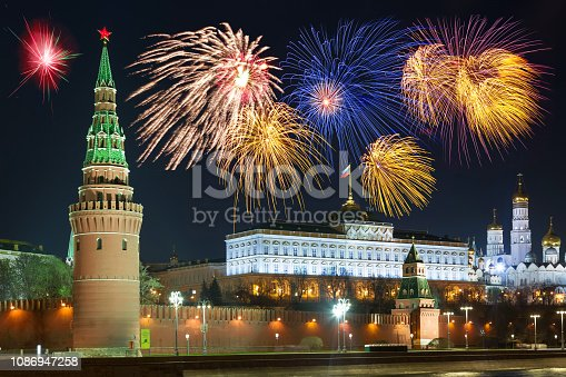 istock View of Kremlin with fireworks during New Year celebration in Russia. 1086947258