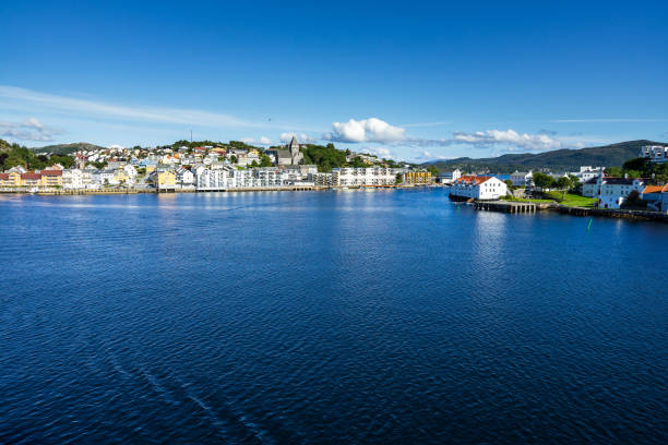 View of Kristiansund in a clear sunny day with typical Norwegian houses and buildings, More og Romsdal, Norway stock photo