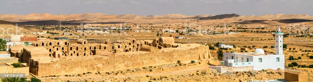 View of Ksar Ouled Abdelwahed at Ksour Jlidet village in South Tunisia stock photo