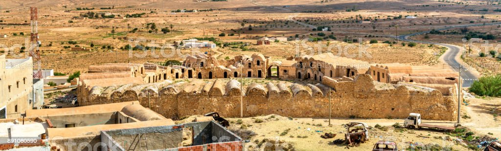 View of Ksar Ouled Boujlida at Ksour Jlidet village in South Tunisia stock photo
