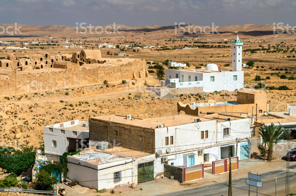 View of Ksour Jlidet, a village in South Tunisia stock photo