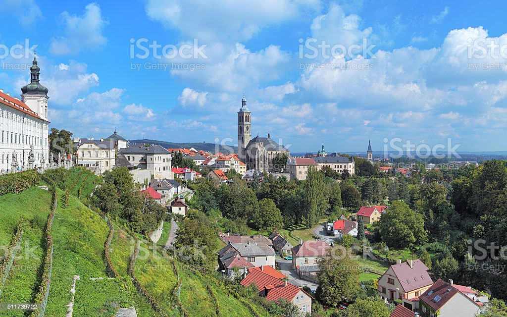 View of Kutna Hora with St. James Church, Czech Republic stock photo