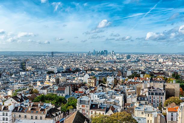 view of la défense from montmartre - montmatre utsikt bildbanksfoton och bilder