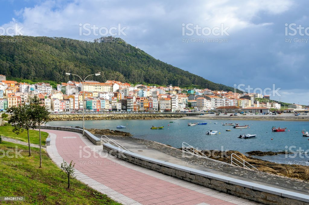 VIew of La Guardia town and boardwalk in the community of Galicia, Spain. royalty-free stock photo