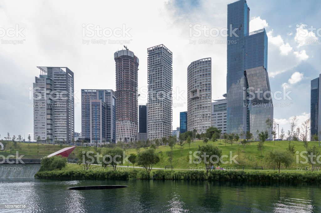 View Of La Mexicana Urban Park In Santa Fe Mexico City With Skyline Of Residential And Office Buildings Stock Photo Download Image Now Istock