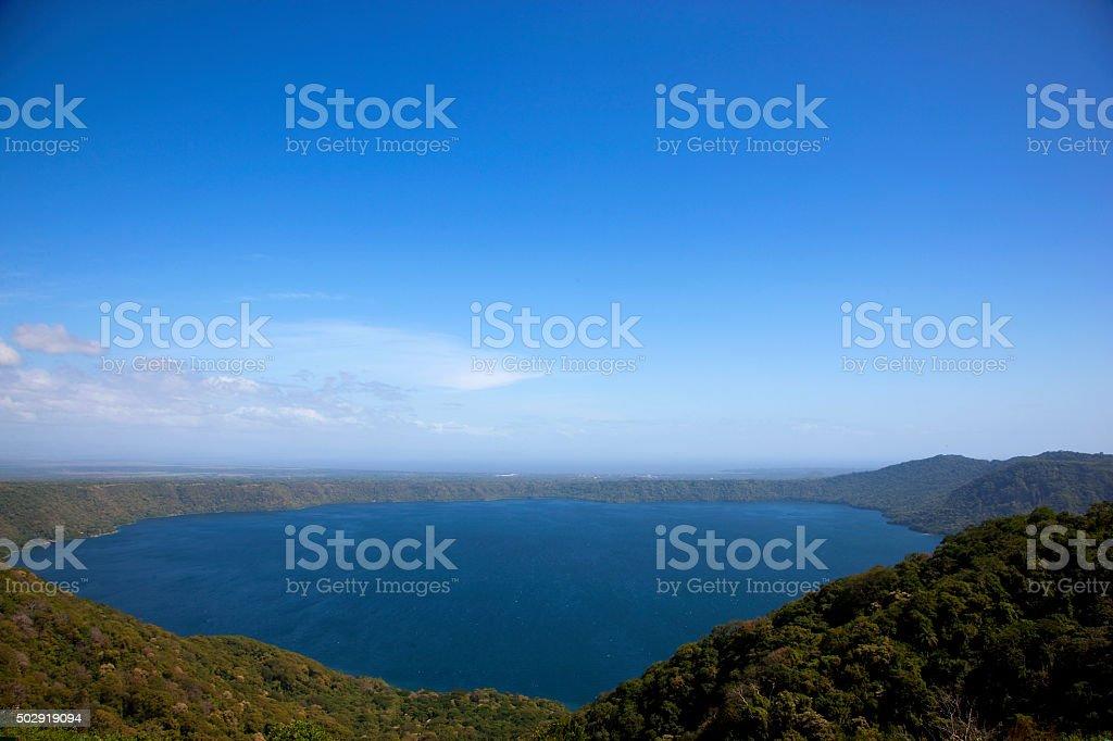 View of Laguna de Apoyo from the crater rim stock photo