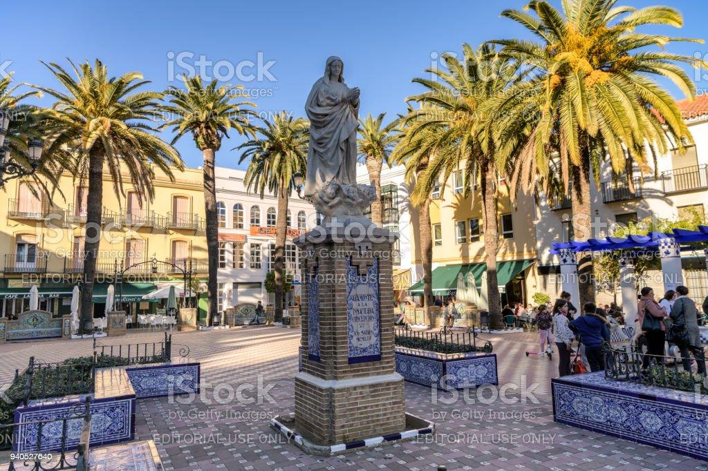 View of Laguna square in downtown Ayamonte, Huelva, Spain. stock photo