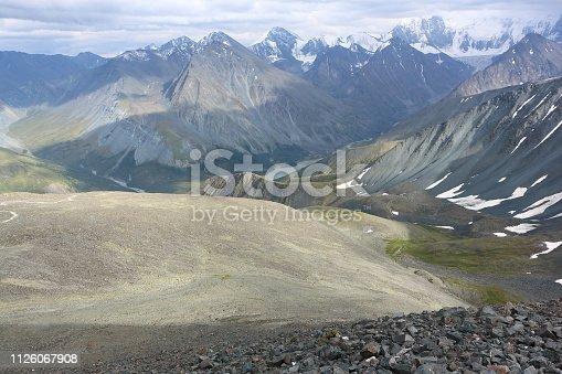 istock View of Lake Akkem from Kara-Turek Pass, Altai Mountains, Russia 1126067908