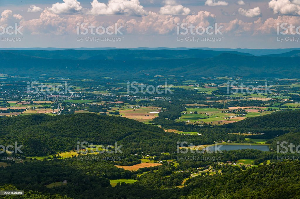 View of Lake Arrowhead and the Shenandoah Valley from Shenandoah stock photo