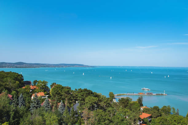 View of Lake Balaton with ships from Tihany, Hungary stock photo