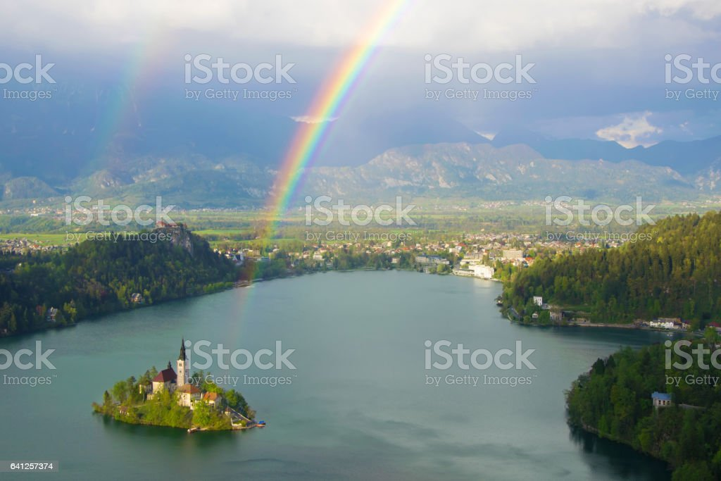 View of Lake Bled from Little Osojnica Hill, Slovenia stock photo