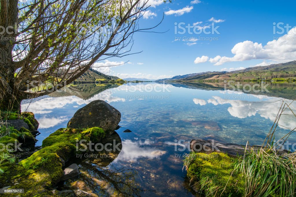 View of Lake Dunstan, New Zealand. stock photo