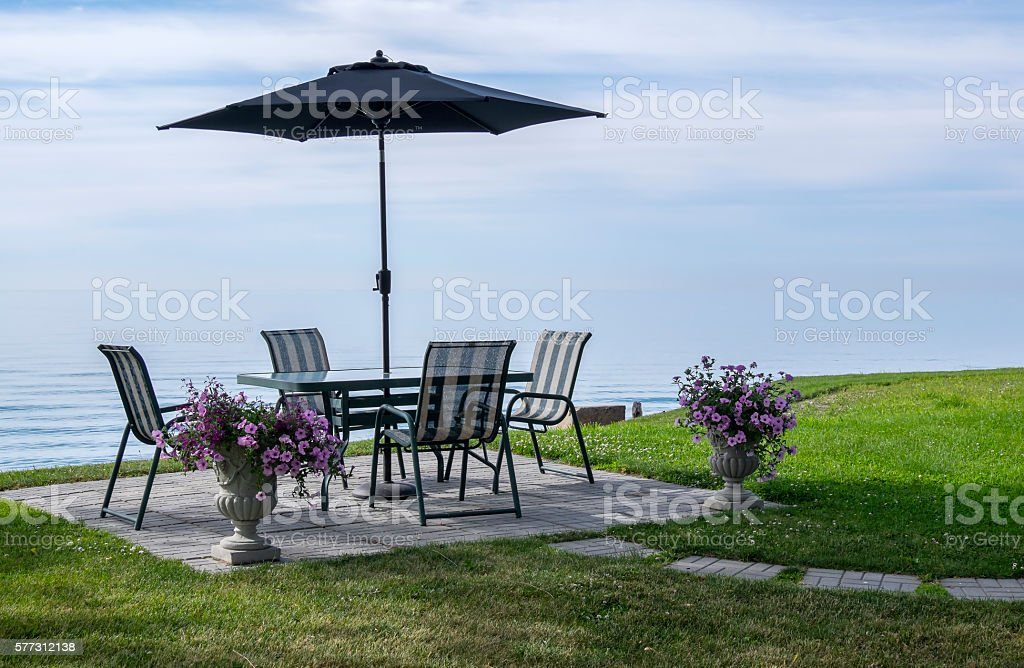 View of Lake Erie from the Patio stock photo