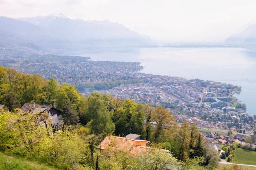View of Lake Geneva on Hazy Day in Spring