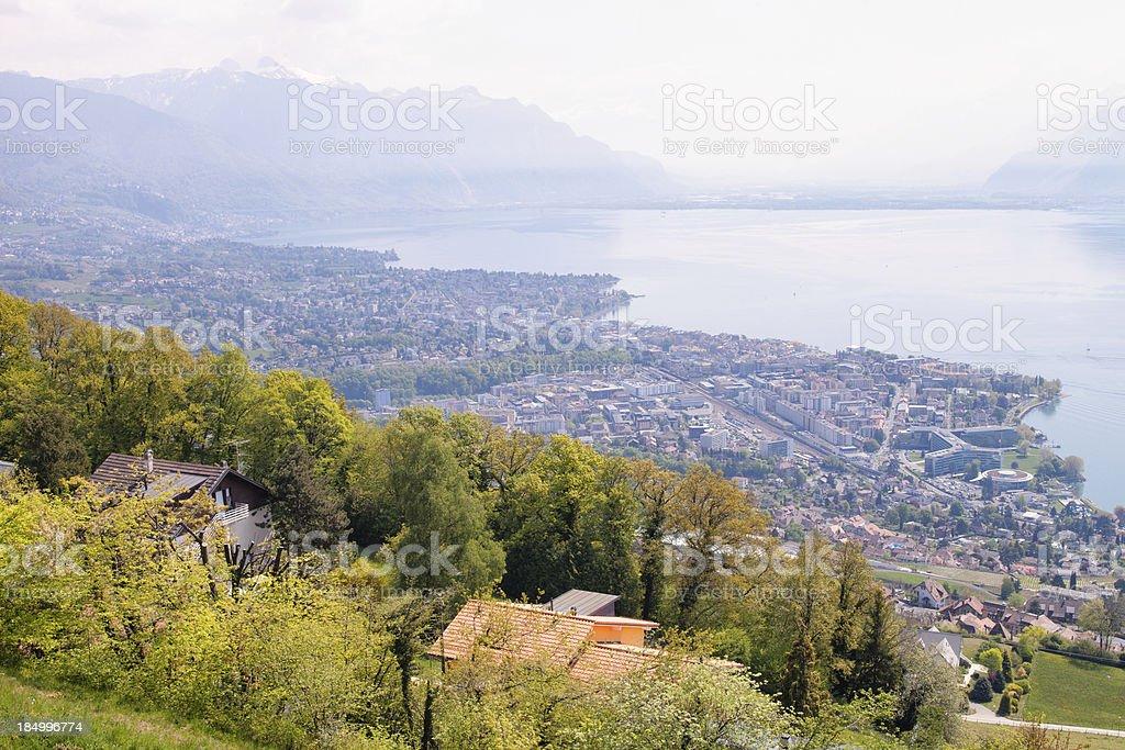 View of Lake Geneva on Hazy Day in Spring stock photo