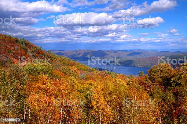 Photo of View of Lake George, NY in autumn from mountain top