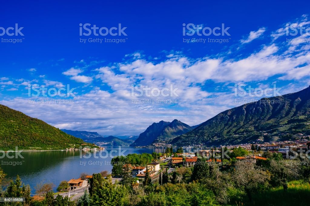 View of Lake Iseo, Italy, the Alps. stock photo