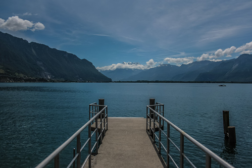 View of lake Léman froma pier in Montreux