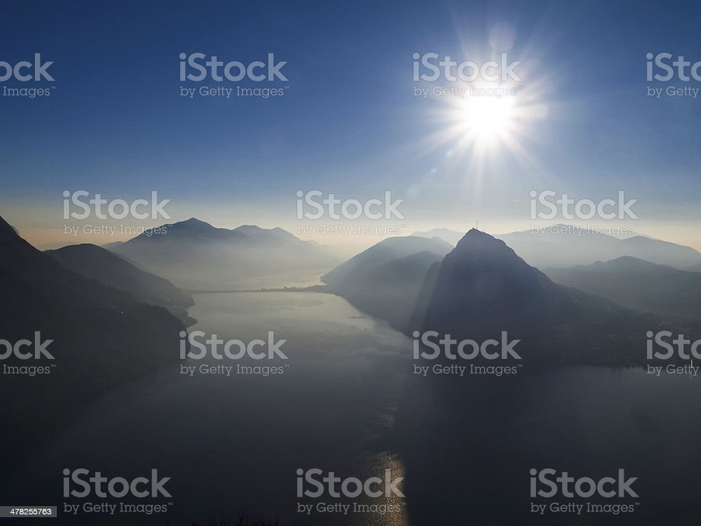 View of Lake Lugano stock photo