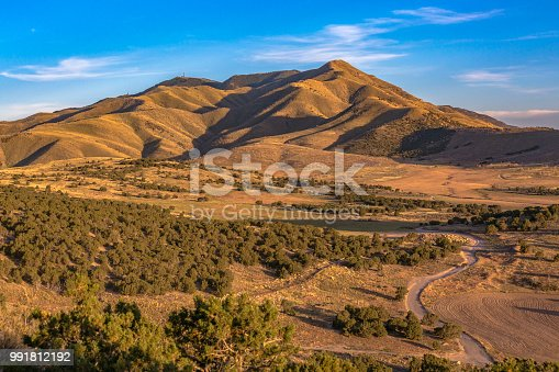 View of Lake Mountains from Eagle Mountain at sunset in Utah Valley