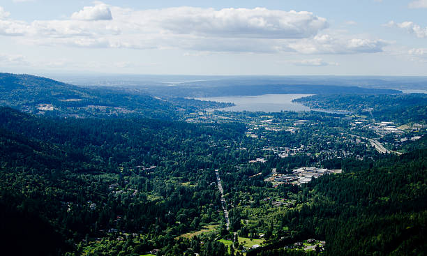 View of lake Sammamish and Issaquah from Poo Poo Point stock photo