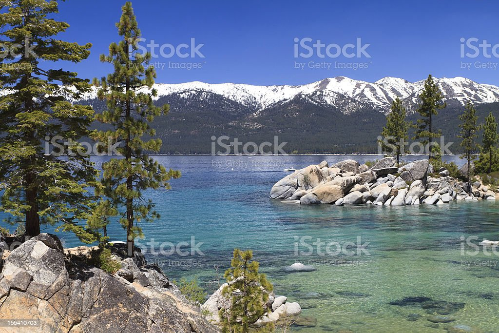 View of Lake Tahoe and Sierra Nevada mountains stock photo