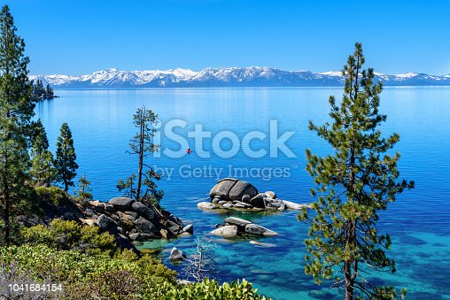 View of Lake Tahoe with snowcapped mountain in the morning, California