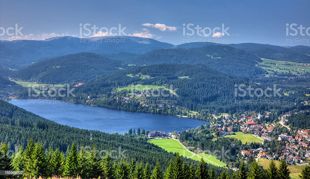 View of lake titisee and the mountain Feldberg stock photo