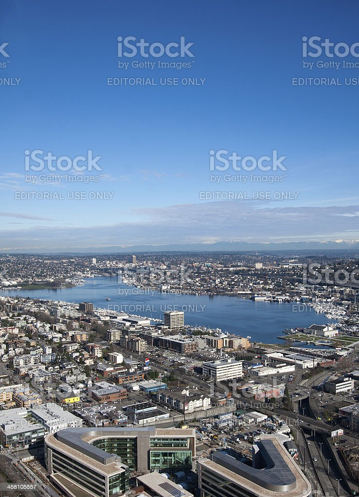 View of Lake Union from Space Needle stock photo