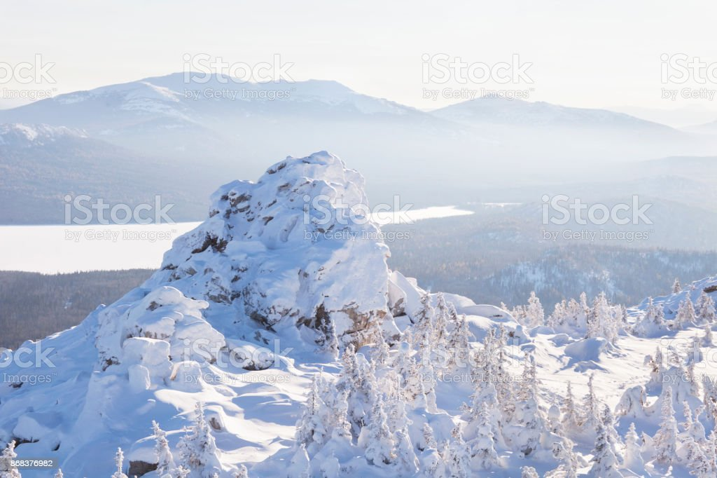 View of lake Zuratkul from Mountain range. Winter landscape. stock photo