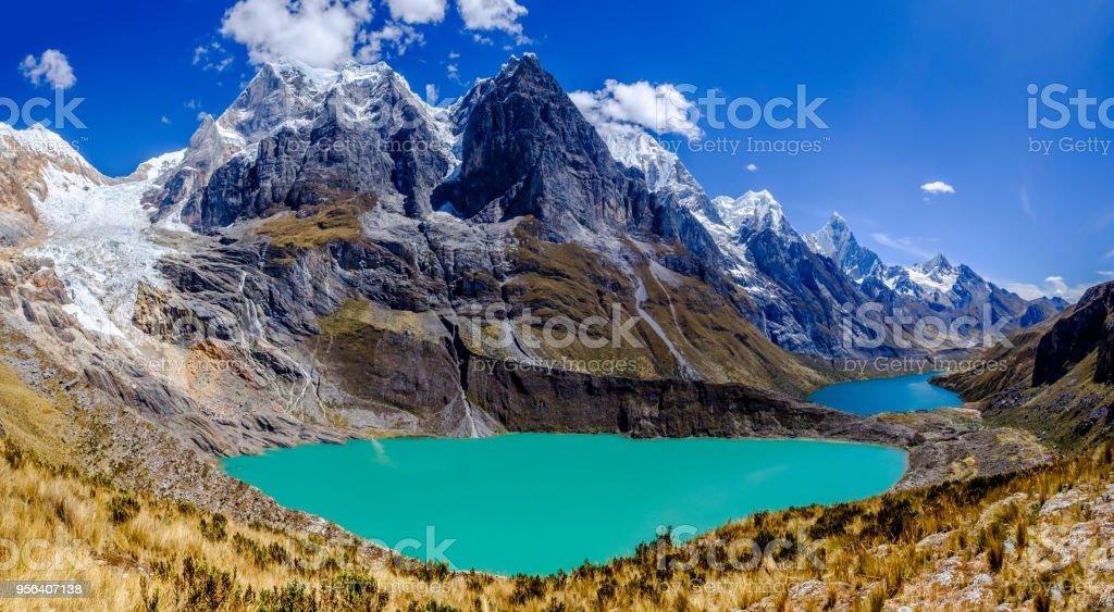 View of lakes and summits in the Cordillera Huayhuash of Peru stock photo