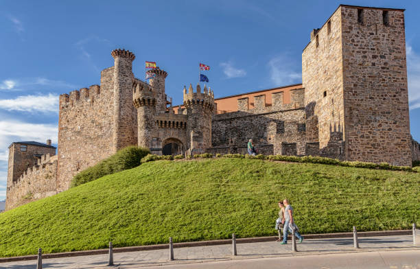 view of landmark ponferrada castle. - knights templar stock pictures, royalty-free photos & images