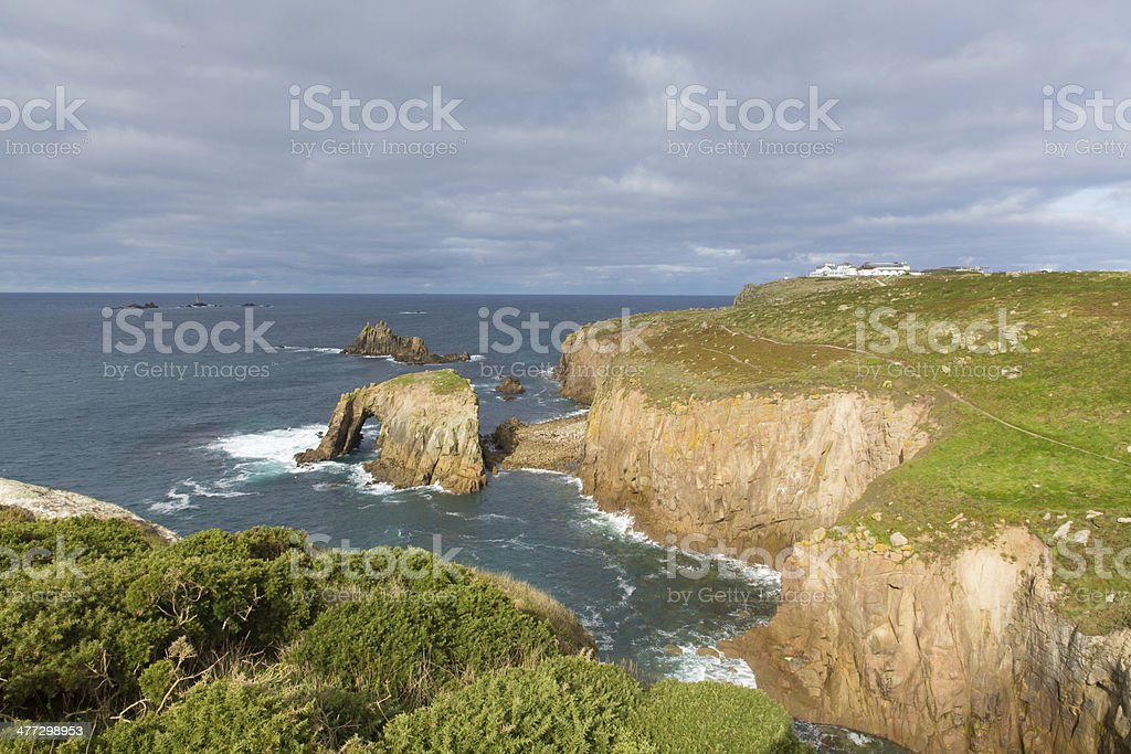 View of Lands End Cornwall UK stock photo