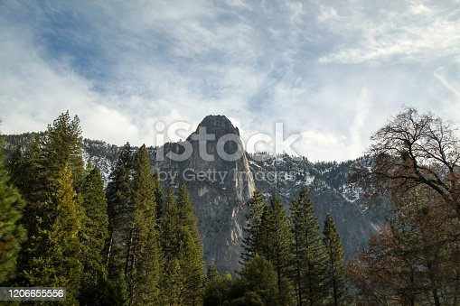 View of landscape mountain at Yosemite National Park in the winter