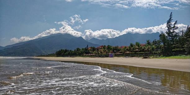View of Lang Ko beach and Ocean Clouds Pass (Hai Van pass) in the