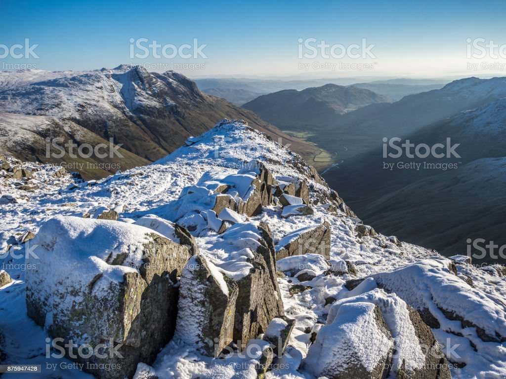 View of Langdale Valley from Langdale Pikes in the snow stock photo