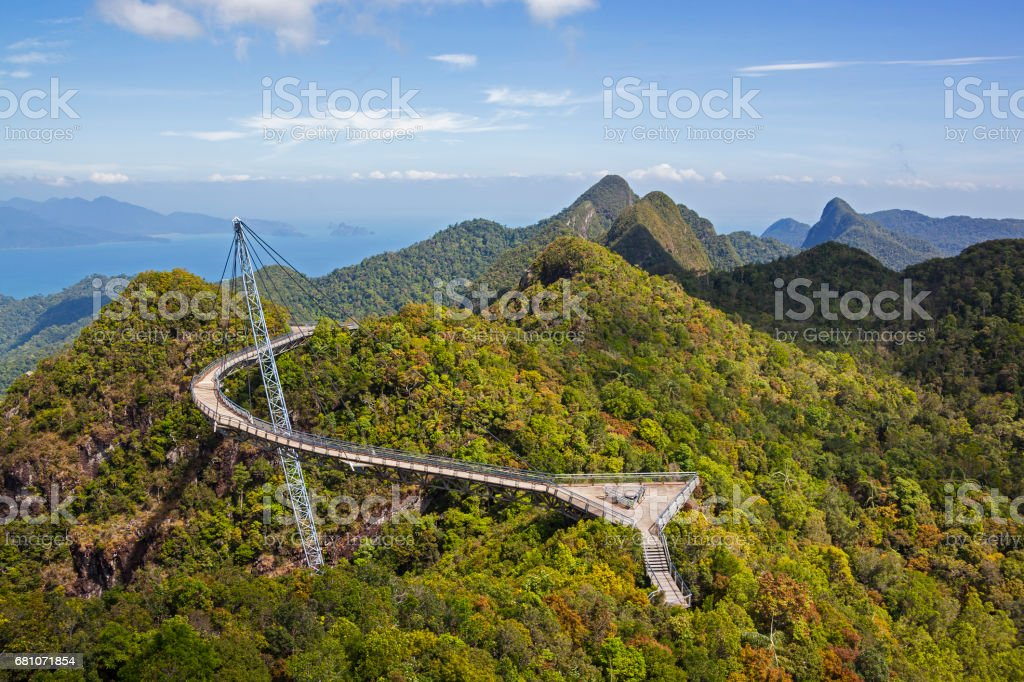 View of Langkawi Sky Bridge from a higher point stock photo