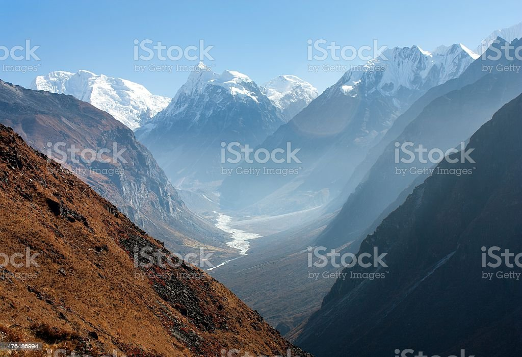 View of Langtang valley, Nepal stock photo