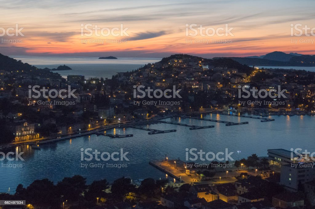 View of Lapad Bay from Gruz near Dubrovnik's Old Town in Croatia stock photo