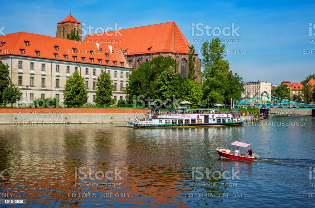 View of large and small touristic boats on Odra River stock photo