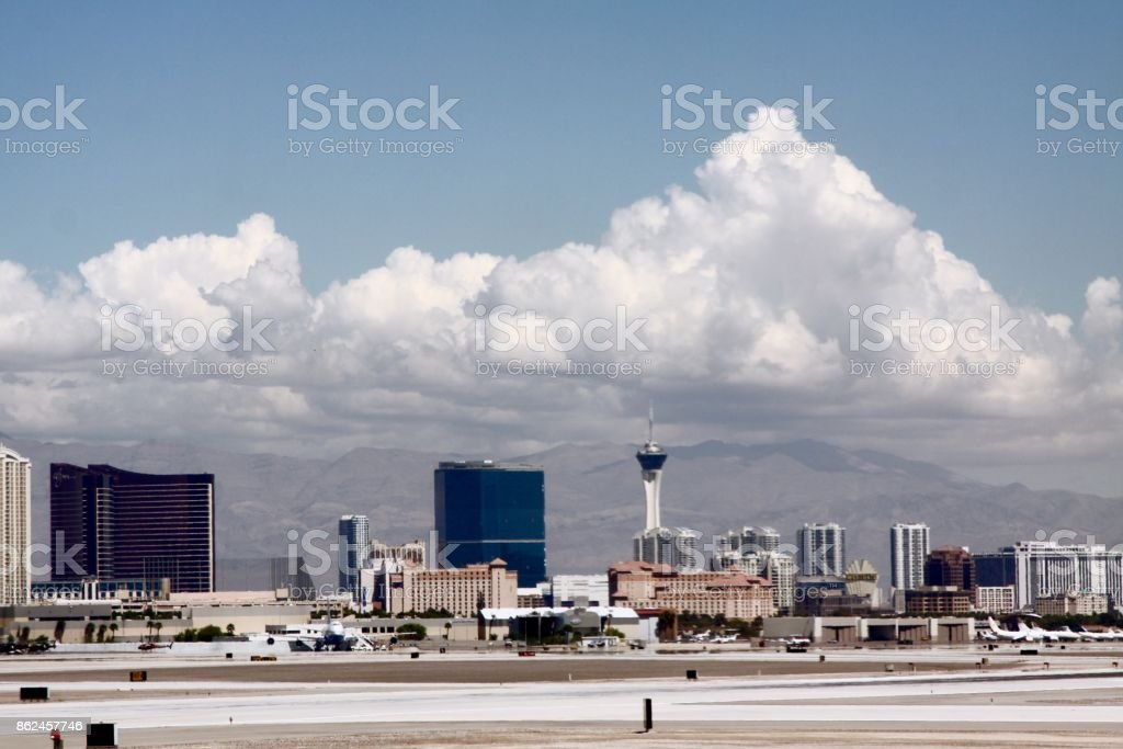 View Of Las Vegas From The Airport Tarmac stock photo