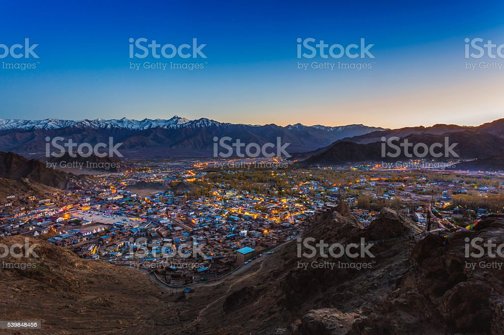 View of Leh city, the capital of Ladakh stock photo